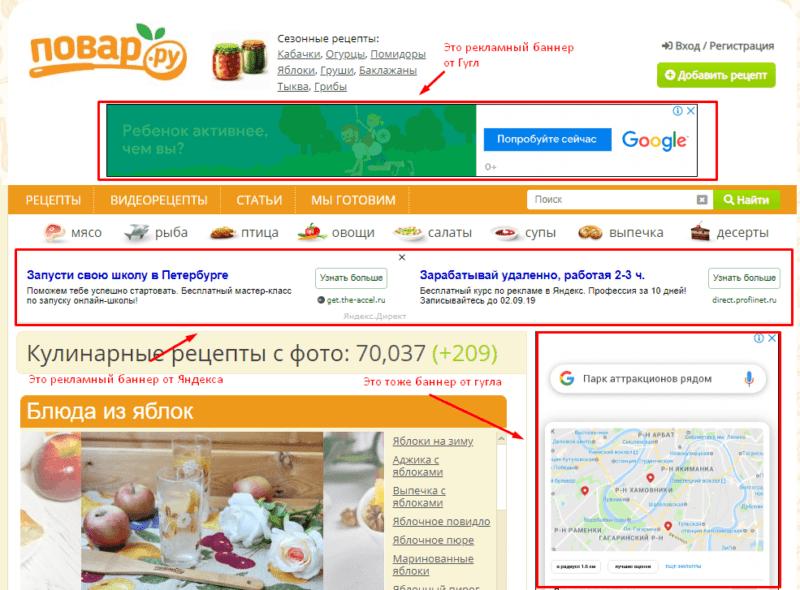 Контекстная реклама на сайте пример