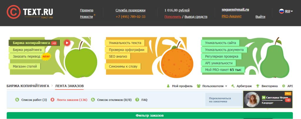 Обзор биржи копирайтинга Текст.ру