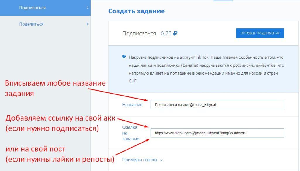 Шаг 5: выбираем аккаунт и вписываем название задания